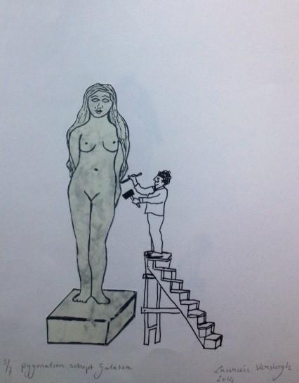 Random work from Laurien Versteegh | Pygmalion and Galatea - silkscreen print, collage | Pygmalion en Galatea (2 versions)