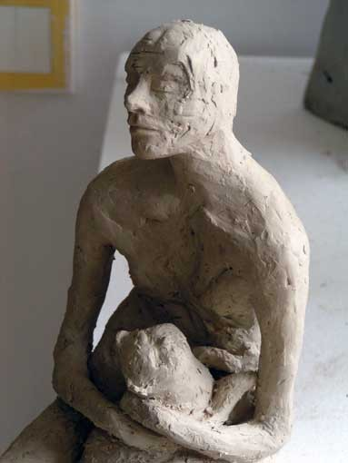 "Random work from Rosella Fida | Ceramics | MAN AND CAT, 2010 - stoneware, 15x15x33cm - 7""x13""x6"""