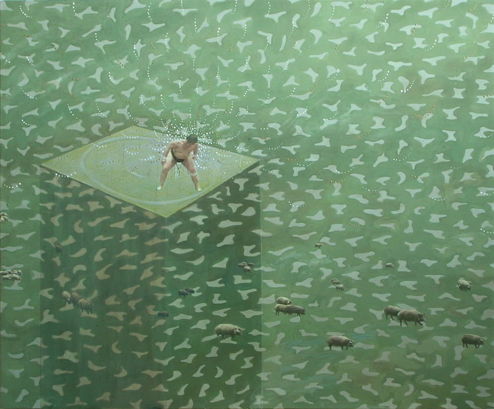Random work from Mayumi Niiranen Hisatomi | Paintings  2008-2009 | A clash of sumo wrestler's wills