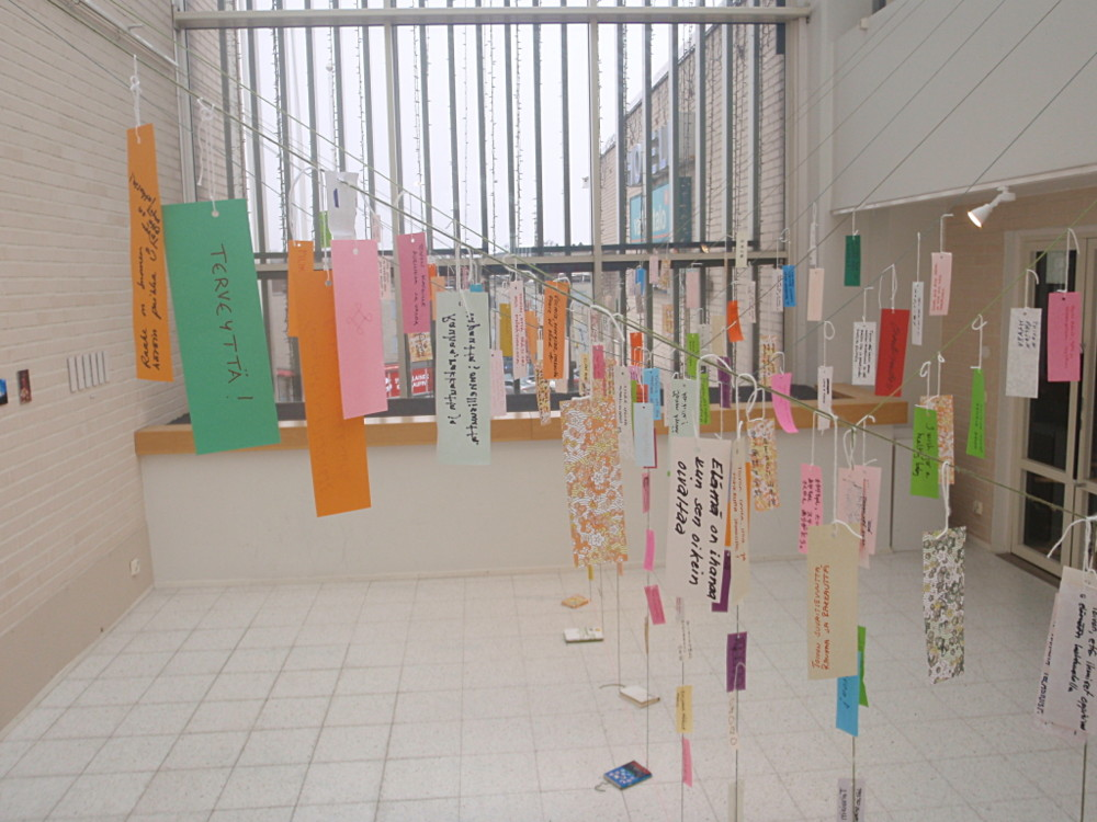 Random work from Mayumi Niiranen Hisatomi   Installation  2012   Full of tanzakus with wishes (the last day of the project)