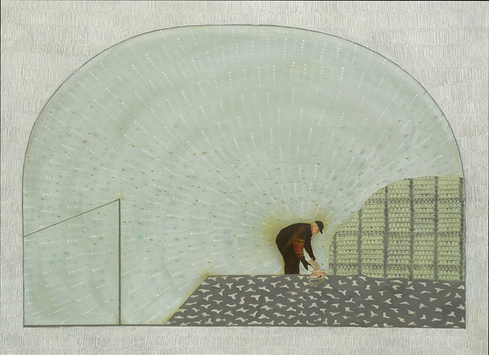 "Random work from Mayumi Niiranen Hisatomi | Paintings  2008-2009 | A man who is just buying ""eggs"""