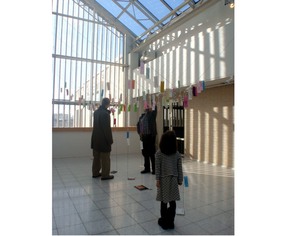 Random work from Mayumi Niiranen Hisatomi | Installation  2012 | visitors looking at the wishes