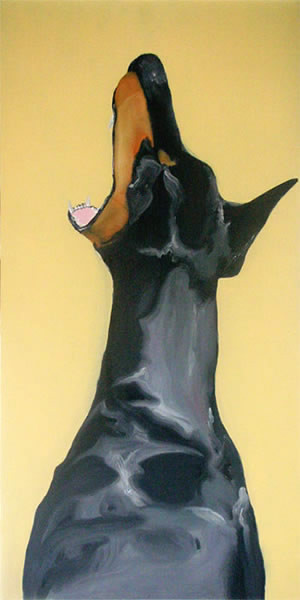 Random work from HENNI KITTI | MAALAUKSET ////////// PAINTINGS | Dobermanni; öljy kovalevylle; 2008