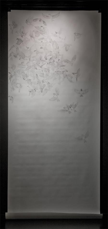 Random work from HENNI KITTI | ELÄIMISTÄ JA PIIRTÄMISESTÄ 2008 - 2011 ////////// ON ANIMALS AND DRAWING 2008 - 2011 | Parvi; 150 x 350 cm; kuulakärkikynä paperille; 2009
