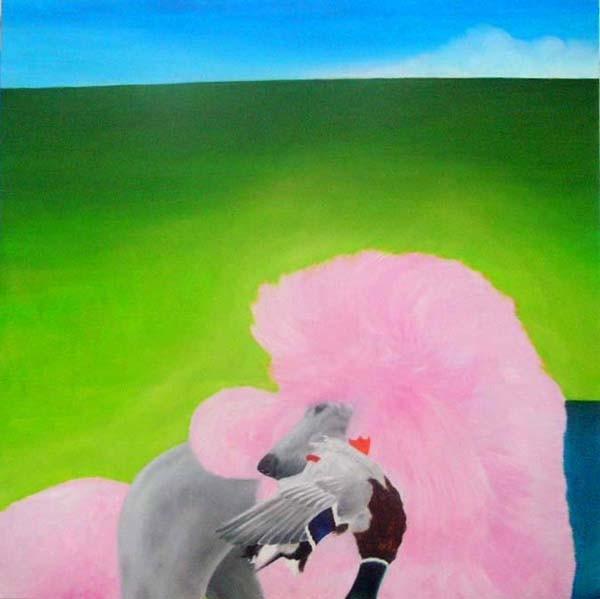 Random work from HENNI KITTI | MAALAUKSET ////////// PAINTINGS | Villakoiran turkki leikataan, jotta sen olisi helpompi uida noutaessaan sorsia