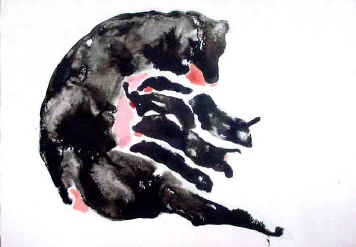 Random work from HENNI KITTI | MAALAUKSET ////////// PAINTINGS | Pentue; 21 x 30 cm; muste ja vesiväri; 2007