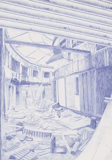Random work from HENNI KITTI   PIIRUSTUKSET ////////// DRAWINGS   Belfast; kuulakärkikynä; 2005; 42 x 59 cm