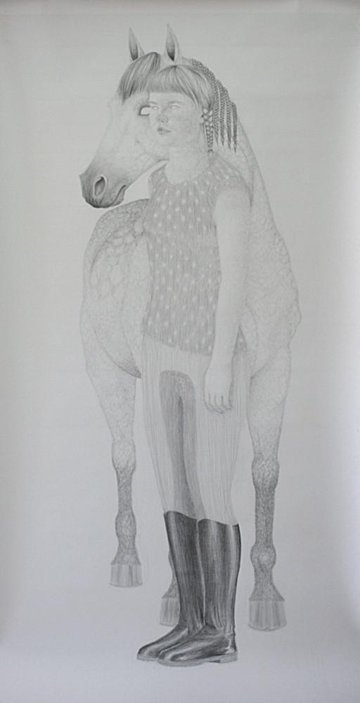 Random work from HENNI KITTI | PIIRUSTUKSET ////////// DRAWINGS | Ratsukko; 100 x 200 cm; lyijykynä paperille; 2009. Yksityiskokoelmassa.