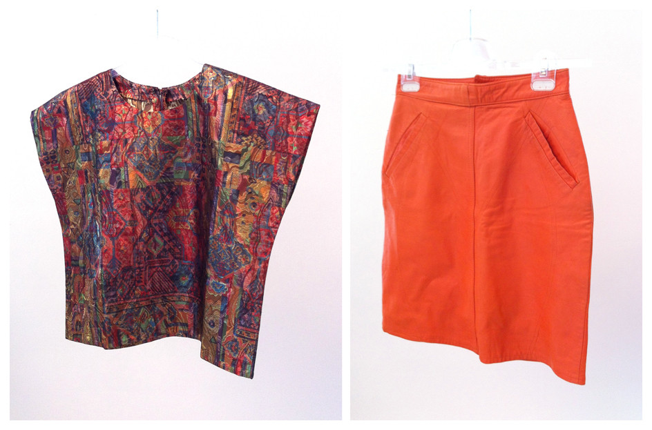 Random work from DEARHUNTER  | VINTAGE PORTFOLIO | Lamé Tee & Orange Leather Pencil Skirt