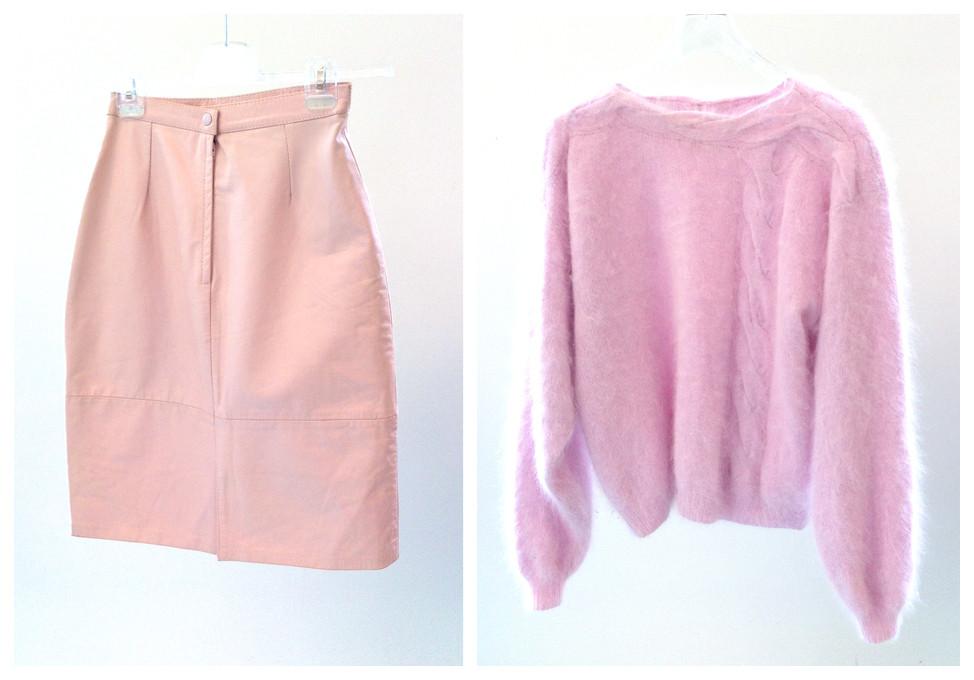Random work from DEARHUNTER  | VINTAGE PORTFOLIO | Soft Pink Leather Tube & Knit Jumper