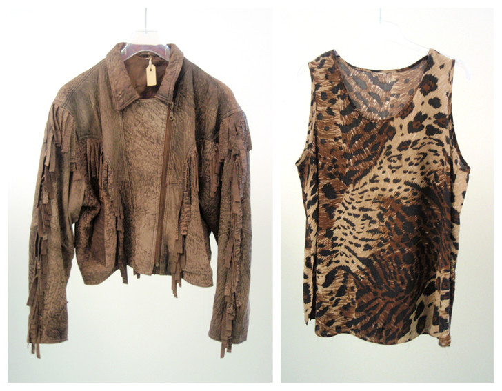 Random work from DEARHUNTER  | VINTAGE PORTFOLIO | Leather 80s Jacket & Tigerprint Tanktop