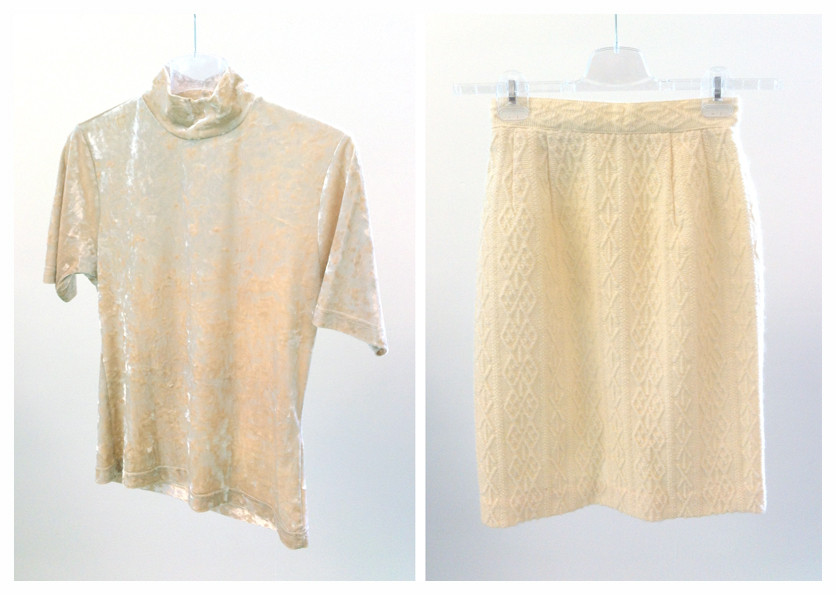 Random work from DEARHUNTER  | VINTAGE PORTFOLIO | Cream Wool Tube & Velvet Top