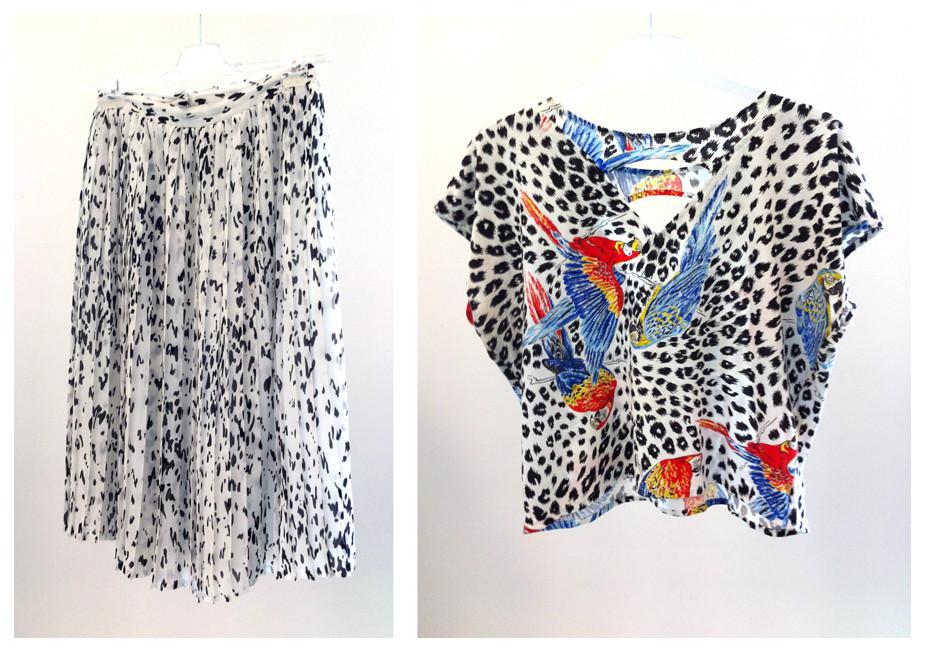 Random work from DEARHUNTER  | VINTAGE PORTFOLIO | B/W Pleaded Skirt & Parrot Tee