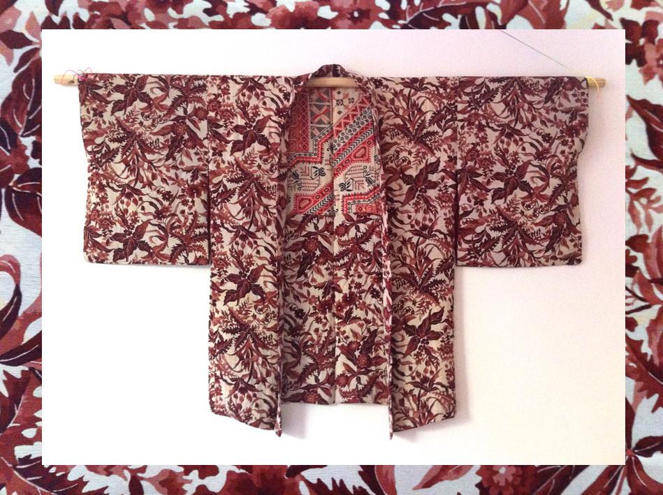 Random work from DEARHUNTER  | VINTAGE PORTFOLIO | Haori Handpainted Burgundy Flowers